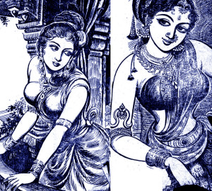 Post the refs on pre 1400s Tamil Nadu, illustration from Sandilyan's Yavana Rani (Greek Queen) portraying (I think) the Greek Queen (L) and a Tamil woman ®. Probably set around 180 AD. Note: The tale is purely fictional though there are accounts of Greek-Tamil trade from ancient times.