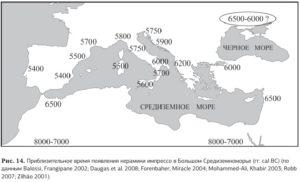 время появления импрессо в различных регионах Средиземноморья